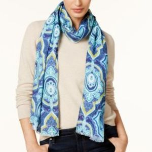 Echo Paisley Oblong Wrap Scarf in Navy